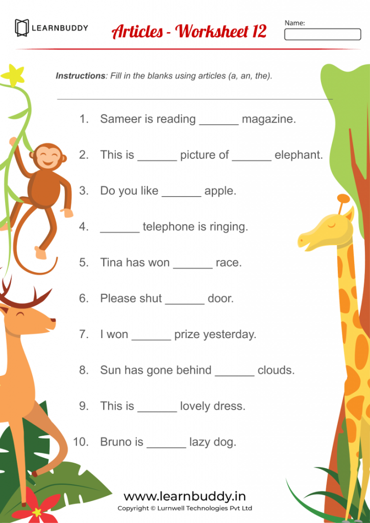 English Worksheets For Class 1 Adverbs Articles Modals