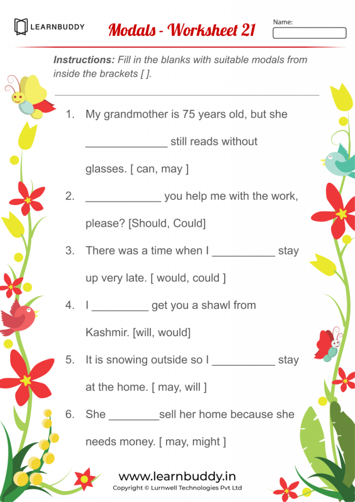 English Worksheets For Class 1 (Adverbs, Articles, Modals) – Learnbuddy.in