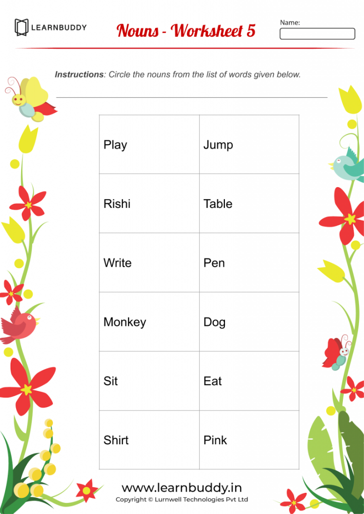 Free Downloadable English Worksheets Class 1 - Nouns - Worksheet 4