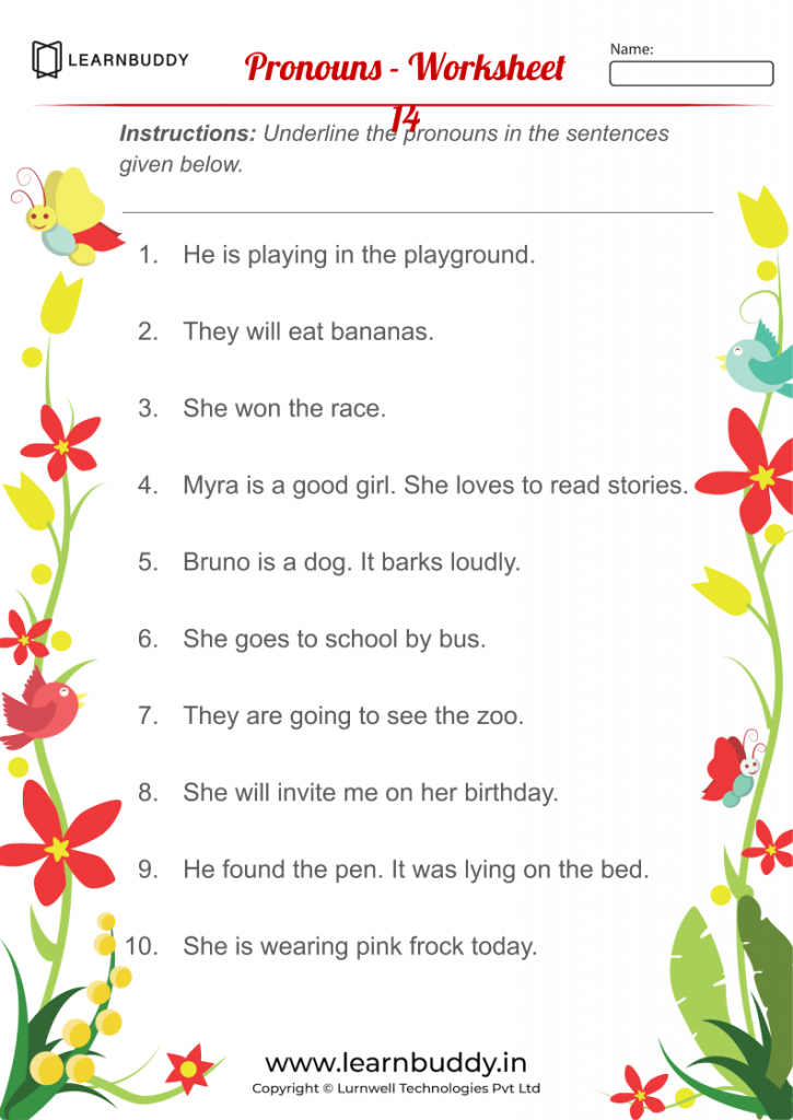 Free Downloadable English Worksheets Class 1 - Pronouns - Worksheet 11