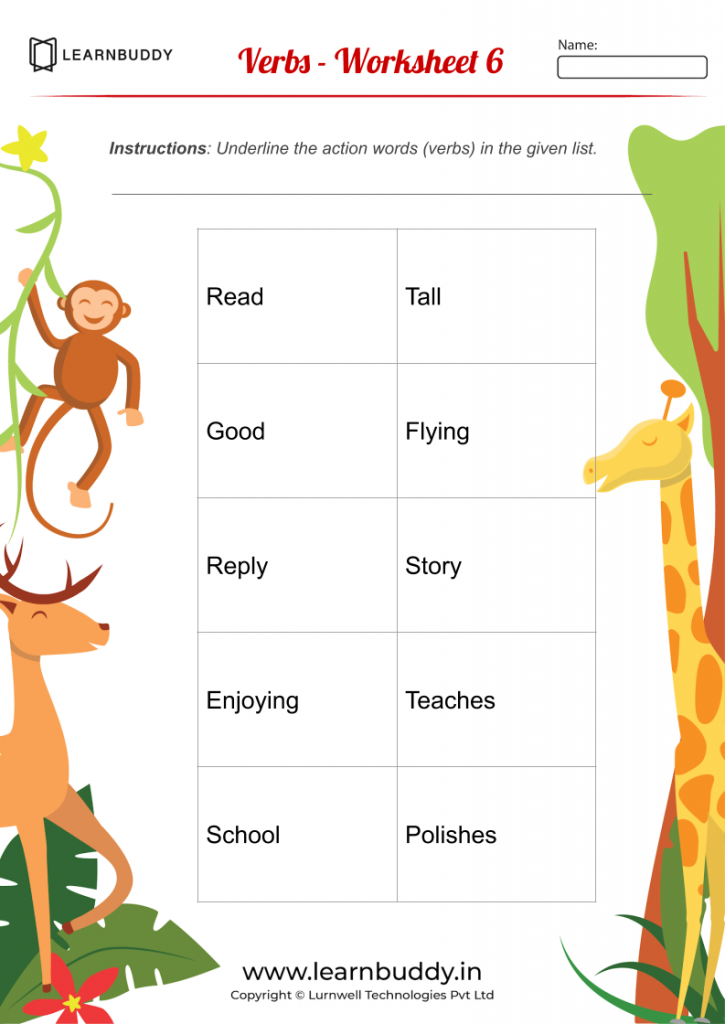 English Worksheets For Class 1 (Nouns, Verbs, Pronouns) – Learnbuddy.in