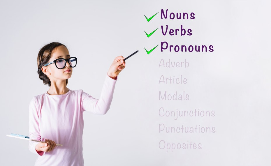 English worksheets for Class 1 (Nouns, Verbs, Pronouns)